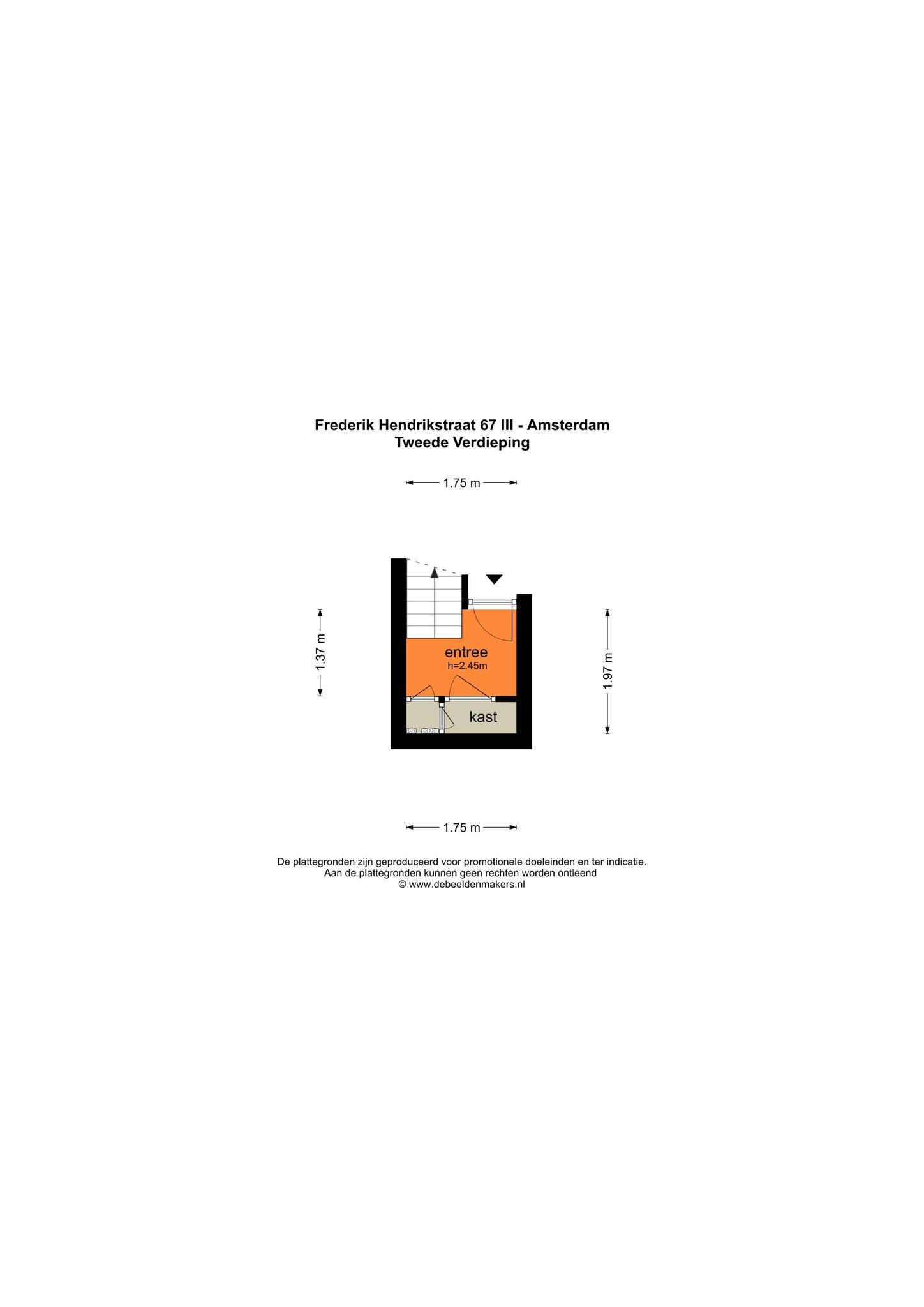 Amsterdam – Frederik Hendrikstraat 67III – Plattegrond 3