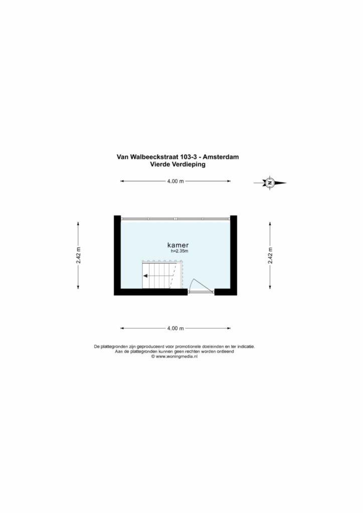 Amsterdam – Van Walbeeckstraat 103III – Plattegrond 4