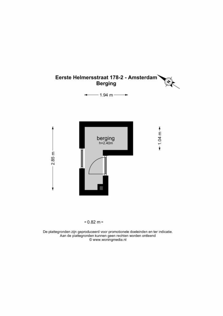 Amsterdam – Eerste Helmersstraat 178II – Plattegrond
