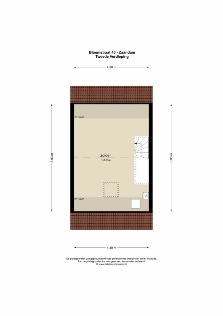 Zaandam – Bloemstraat 40 – Plattegrond 2
