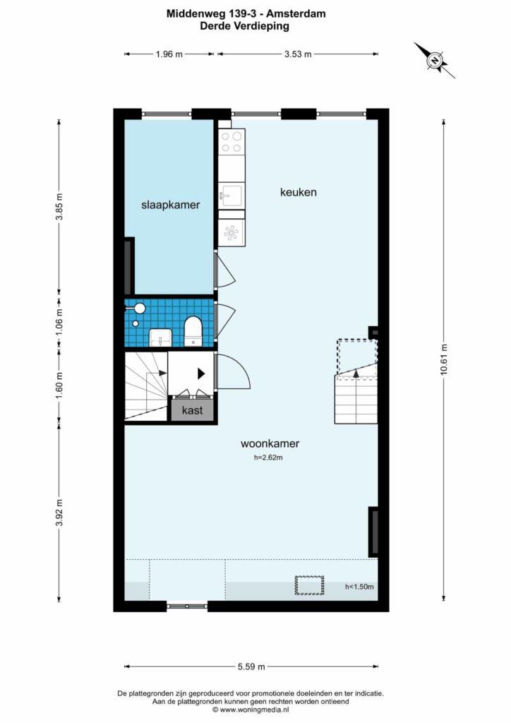 Amsterdam – Middenweg 139-III – Plattegrond 2
