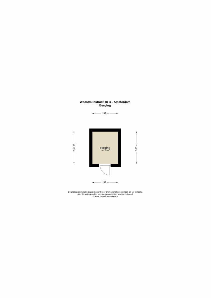 Amsterdam – Woestduinstraat 18B – Plattegrond
